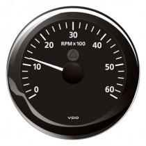 TACHOMETER BLACK 6000 RPM 8-32V