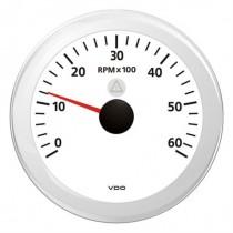 TACHOMETER WHITE 6000 RPM 8-32V