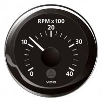 TACHOMETER BLACK 4000 RPM 8-32V