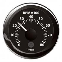 TACHOMETER BLACK 8000 RPM 8-32V
