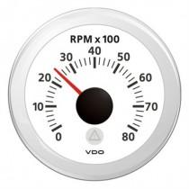 TACHOMETER WHITE 8000 RPM 8-32V