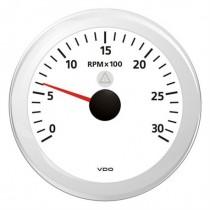 TACHOMETER WHITE 3000 RPM 8-32V