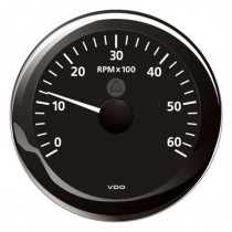 TACHOMETER BLACK 6000 RPM 8-32V