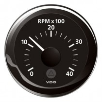 TACHOMETER BLACK 4000 RPM 8-32V