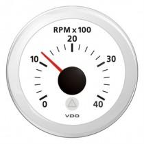 TACHOMETER WHITE 4000 RPM 8-32V