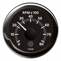 TACHOMETER BLACK 8000 RPM 8-32V